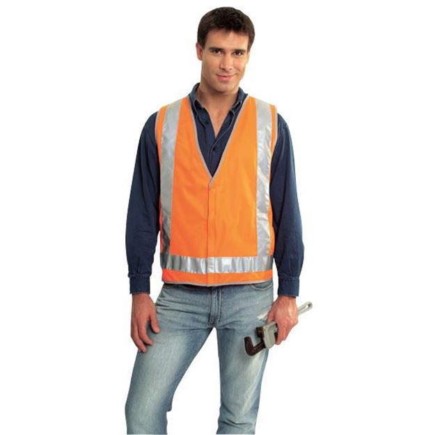 645ecedf68193 Picture of Safety Vest - Fluoro Orange Ref Trim Style 2 Class D N