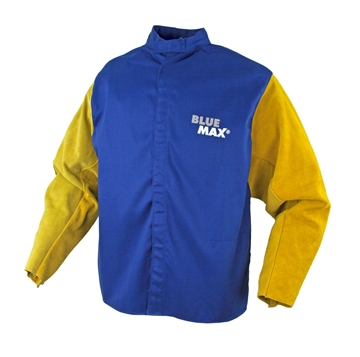 Picture of Blue Max FR Cotton Welding Jacket with gold leather sleeves