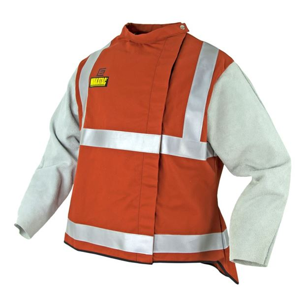 Picture of WAKATAC Proban High Vis Welding Jacket with Leather Sleeves & Safety Harness Access