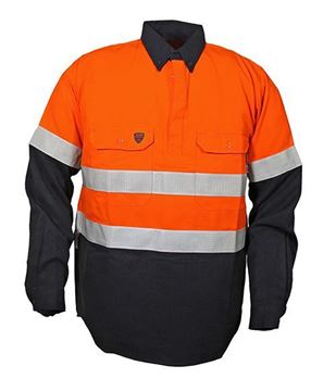 Picture of Tecasafe plus NENS 09 Long Sleeve Shirt 5.8oz - Orange/Navy Ref Tape