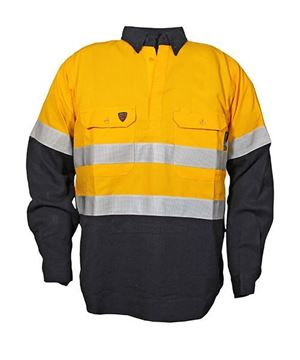 Picture of Tecasafe plus NENS 09 Long Sleeve Shirt 5.8oz - Yellow/Navy Ref Tape