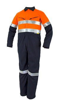 Picture of Tecasafe FR Coverall 5.8oz - Orange/Navy with Reflective Tape