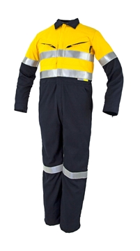 Picture of Tecasafe FR Coverall 5.8oz - Yellow/Navy with Reflective Tape