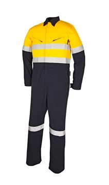 Picture of Tecasafe plus 7.0 oz FR Coverall  - Yellow/Navy Reflective Trim