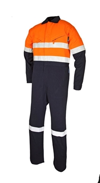 Picture of Tecasafe plus 7.0 oz FR Coverall - Orange/Navy Reflective Trim