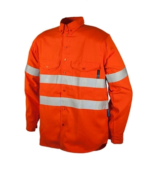 Picture of Tecasafe plus 7.0 oz FR Long Sleeve Work Shirt  - Orange with Silver Reflective Tape
