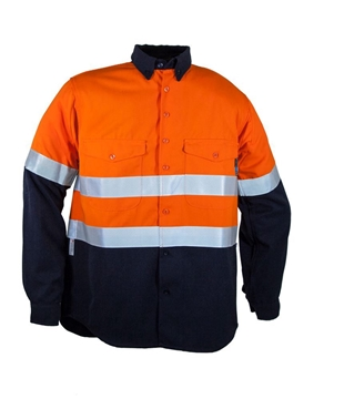 Picture of Tecasafe plus 7.0 oz FR Long Sleeve Work Shirt - Orange/Navy with Reflective Tape