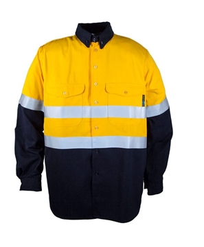 Picture of Tecasafe 7.0 oz FR Long Sleeve Shirt - Yellow/Navy with Reflective Tape