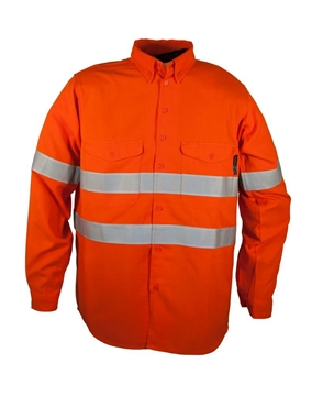 Picture of Tecasafe plus FR Long Sleeve Work Shirt 5.8 oz - Orange with Silver Reflective Tape