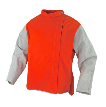 Picture of Orange Proban  High Vis Welding Jacket with Leather Sleeves and Harness Access
