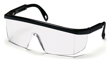 Pyramex Integra safety glasses with clear lens and black frame
