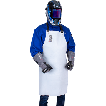 Picture of Blue Max A1-LS Chrome Leather Bib Style Welding Apron with Leather Straps