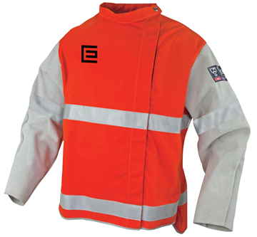 Picture of Orange Proban High Vis Welding Jacket with Chrome Leather Sleeves and Reflective Trim