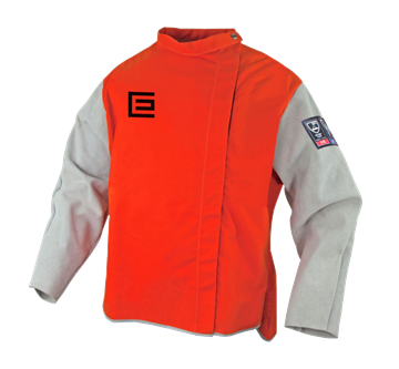 Picture of Proban® High Visibility Orange Welding Jacket with Chrome Leather Sleeves