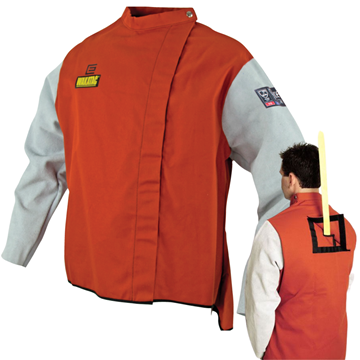 Picture of WAKATAC  Proban  Welding Jacket with Chrome Leather Sleeves & Safety Harness Access