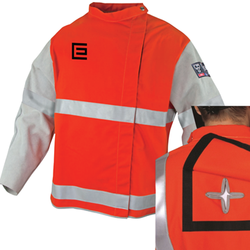 Picture of Orange Proban  High Vis Welding Jacket with Leather Sleeve, Harness Access and Reflective Trim