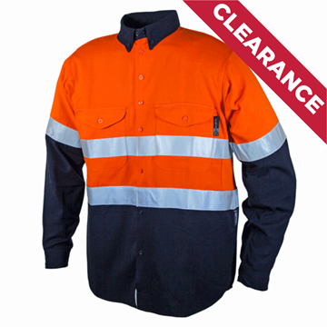 Picture of Tecasafe 5.8oz FR Ultimate Long Sleeve Shirt - Orange/Navy with Silver Reflective Tape