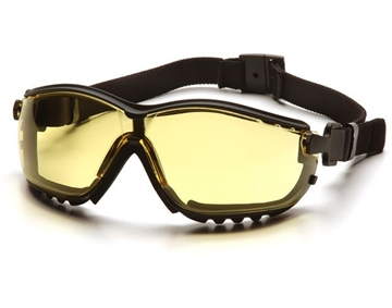 Picture of Pyramex V2G Specialty Glasses / Safety Goggles - Amber Lens with Black Strap / Temples and H2X Anti-Fog Technology