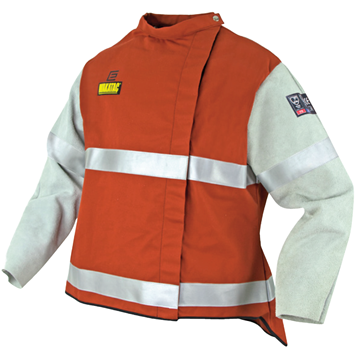 Picture of WAKATAC  Proban Hi Vis Welding Jacket with Chrome Leather Sleeves & Reflective Trim