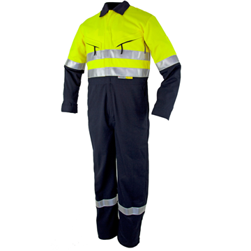 Picture of Tecasafe Plus Classic 5.8oz FR Coverall - Fluro Yellow/Navy