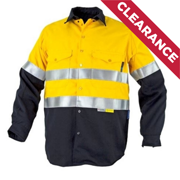 Picture of Tecasafe 5.8oz  FR Long Sleeve Shirt - Yellow/Navy Reflective Tape